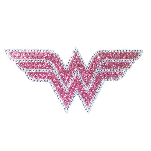 Wonder Woman Logo Pink Crystal Studded Large Decal