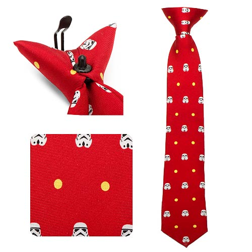 Star Wars Stormtrooper Dot Red Boys Silk Clip-On Tie