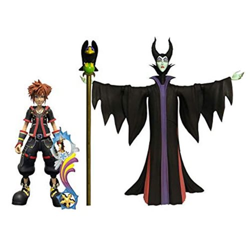 Kingdom Hearts 3 Sora & Maleficent Action Figures, Not Mint