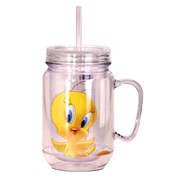Looney Tunes Tweety Bird Clear Mason-Style Plastic Jar with Lid and Handle