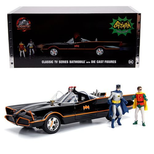 Batman 1966 TV Series Batmobile 1:18 Scale Die-Cast Metal Vehicle with Lights 3-Inch Batman and Robin Figures