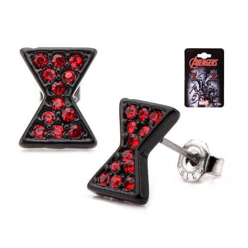 Avengers Black Widow Symbol Red Bling Gems Stud Earrings