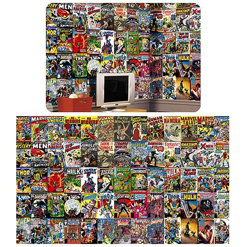 Marvel Comic Book Chair Rail Prepasted Wall Mural