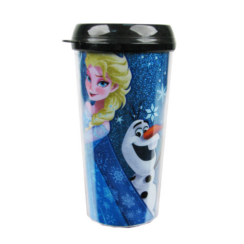 Disney Frozen Elsa and Olaf the Snow Man Back 2 Back Glitter 16 oz. Plastic Travel Mug