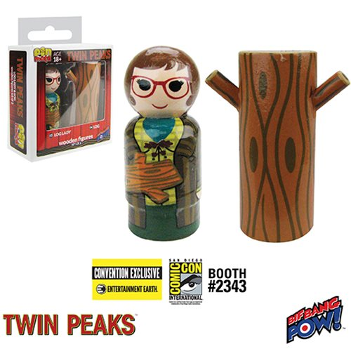 Twin Peaks Log Lady and Log Pin Mate Wooden Figure Set of 2 - Convention Exclusive
