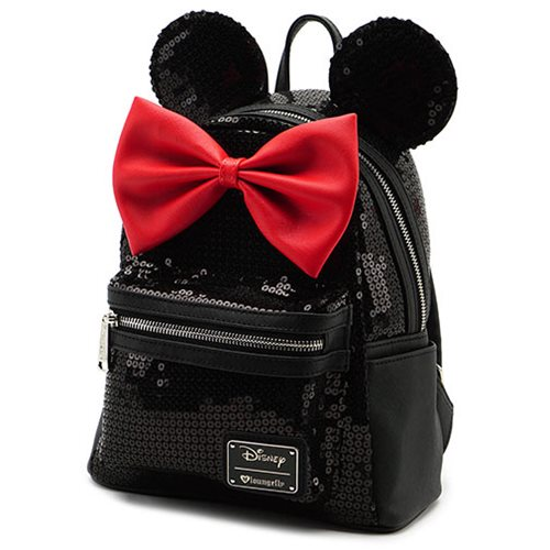 Minnie Mouse Black Sequin Mini Backpack