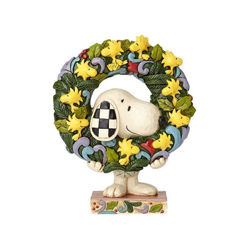Peanuts Snoopy and Woodstock Wreath Statue by Jim Shore