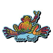 Peace Frogs Words Funky Chunky Magnet