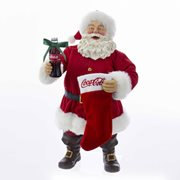 Coca-Cola Santa with Coke Bottle and Stocking 10-Inch Statue