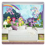 My Little Pony Friendship is Magic Ponyville Chair Rail Giant Ultra-Strippable Prepasted Mural
