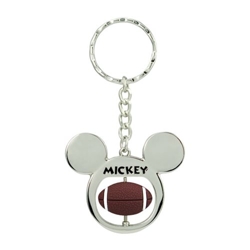 Mickey Mouse Rugby Spinner Pewter Key Chain