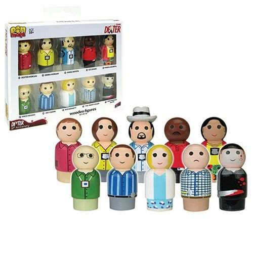 Dexter Pin Mate Wooden Figure 10th Anniversary Set of 10, Not Mint