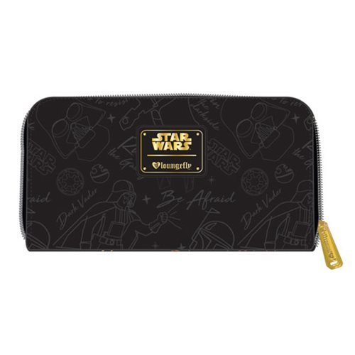 Star Wars Darth Vader Minimal Black Zip-Around Wallet