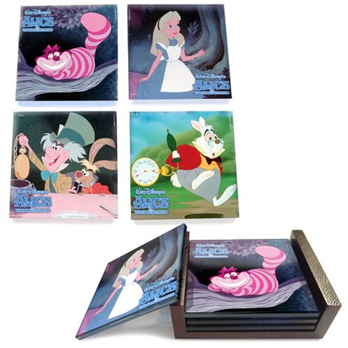 Alice In Wonderland StarFire Prints Glass Coaster Set