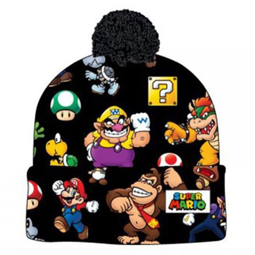 625baa9ec Super Mario Bros. Sublimated Print Cuff Knit with Pom Beanie