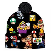 Super Mario Bros. Sublimated Print Cuff Knit with Pom Beanie