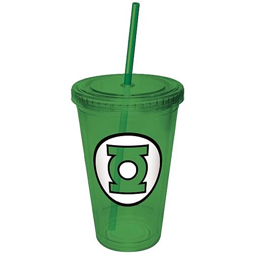 Green Lantern Green Plastic Cup with Straw