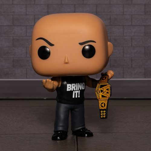 WWE The Rock with Championship Belt Pop! Vinyl Figure - Entertainment Earth Exclusive