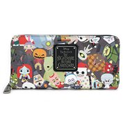 Nightmare Before Christmas Chibi Character Print Zip-Around Wallet