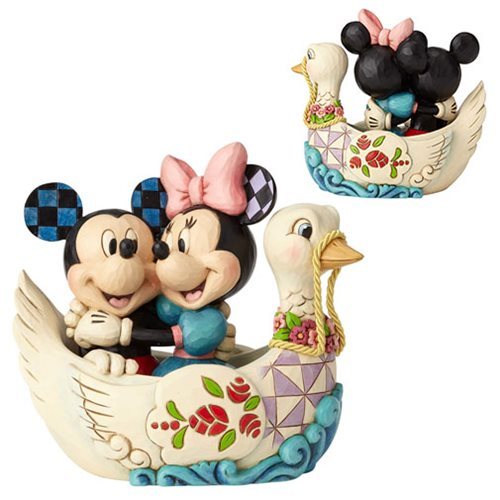 Disney Traditions Mickey and Minnie Mouse in Swan Lovebirds Statue