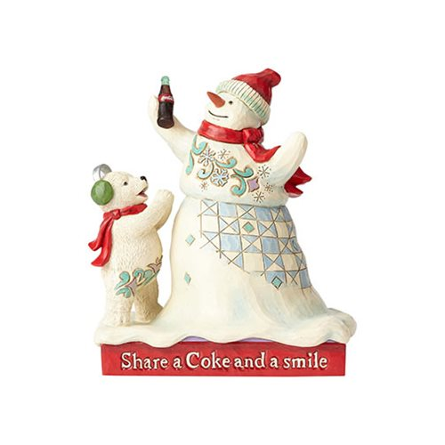 Coca-Cola Snowman and Baby Bear Share a Coke and a Smile Statue by Jim Shore