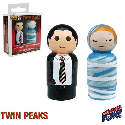 Twin Peaks Agent Dale Cooper and Laura Palmer Pin Mate Wooden Figure Set of 2