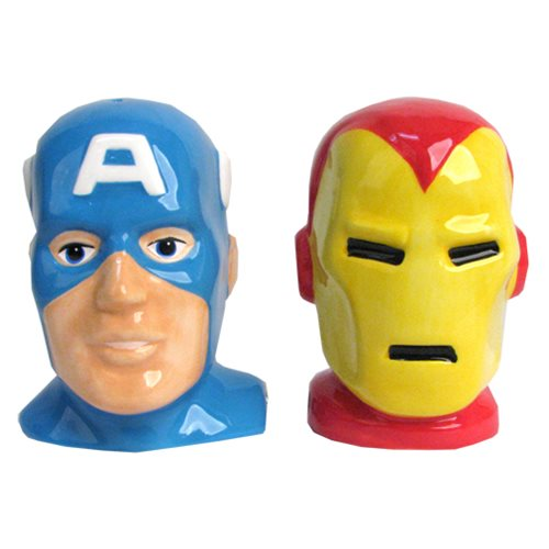 Captain America and Iron Man Heads Salt and Pepper Shakers