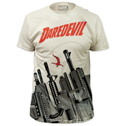 Daredevil Gun City Big Print White T-Shirt