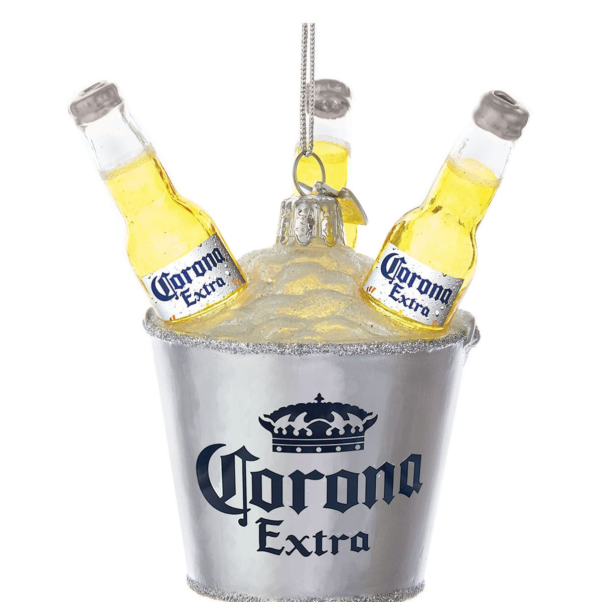 Corona Silver Bucket With 3 Bottles 3 3 4 Inch Ornament