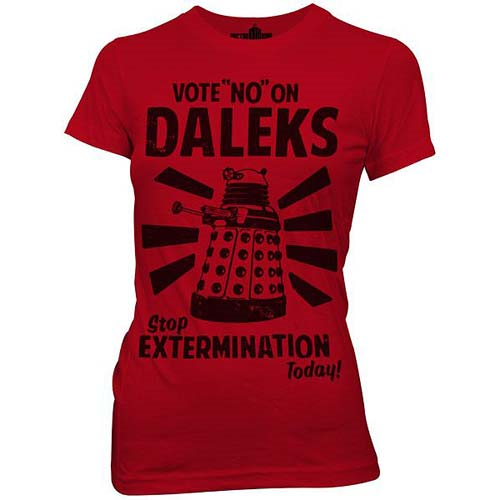 Doctor Who Vote No On Daleks Red Juniors T-Shirt