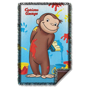Curious George Paint Woven Tapestry Blanket
