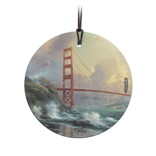 Thomas Kinkade San Francisco Golden Gate Bridge StarFire Prints Hanging Glass Ornament