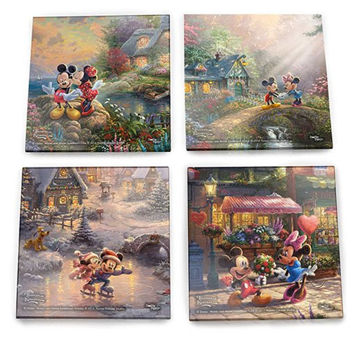 Mickey Mouse and Minnie Mouse Sweetheart Collection Thomas Kinkade Starfire Prints Glass Coaster Set