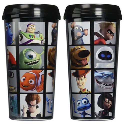 Pixar Faces Grid 16 oz. Plastic Travel Mug