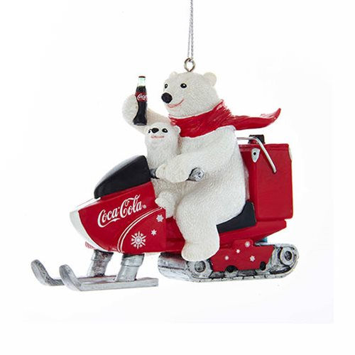 Coca-Cola Polar Bear with Cub Snowmobile 4 1/4-Inch Resin Ornament