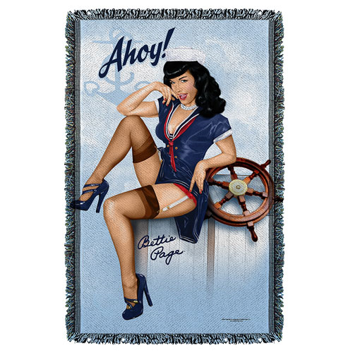 Bettie Page Ahoy Woven Tapestry Throw Blanket