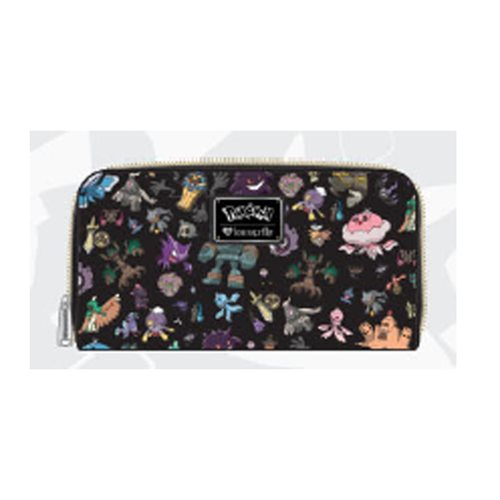 Pokemon Ghost Print Black Zip-Around Wallet