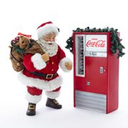 Coca-Cola Santa with Light-Up Vending Machine Statue Set
