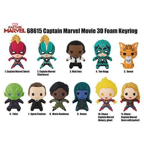 Captain Marvel 3-D Figural Key Chain Random 6-Pack
