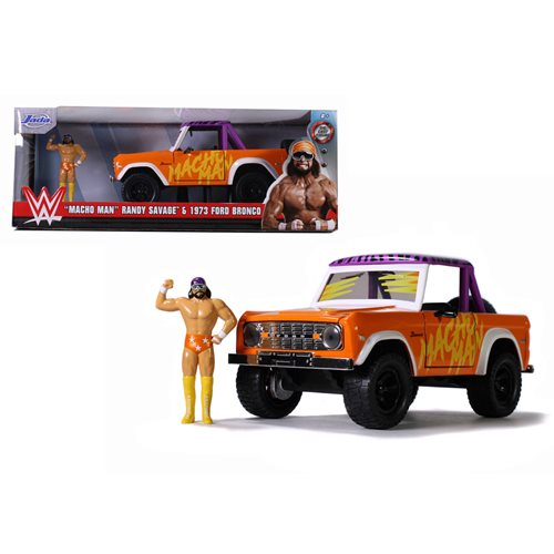 WWE Macho Man 1973 Ford Bronco 1:24 Scale Die-Cast Metal Vehicle with Figure