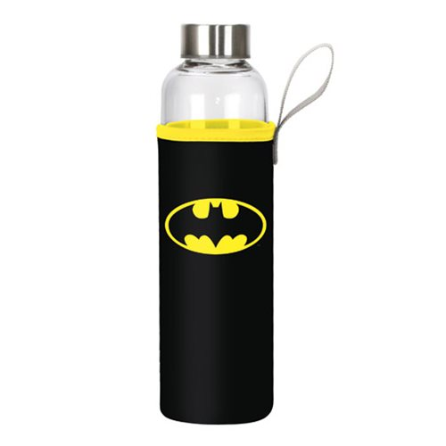 Batman Logo 20 oz. Glass Water Bottle with Neoprene Sleeve