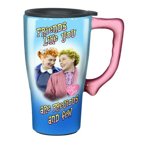 I Love Lucy Friends Blue Travel Mug with Handle