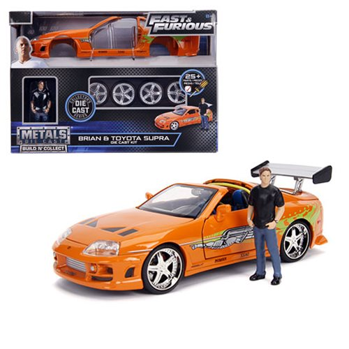 Fast and the Furious Brian's Toyota Supra 1:24 Scale Build and Collect Die-Cast Metal Vehicle with Brian Figure