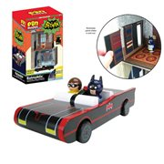 Batman TV Series Batmobile with Batman and Robin Pin Mates and Papercraft Batcave and Wayne Manor - Convention Exclusive