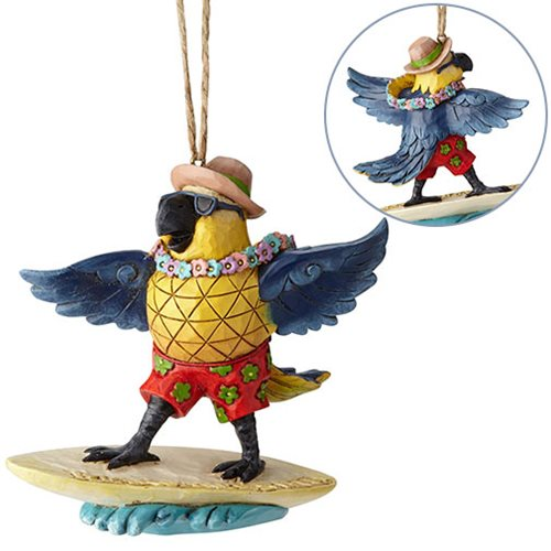 Margaritaville Surfing Parrot Heartwood Creek Ornament by Jim Shore