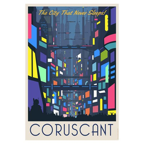 Star Wars Coruscant Nightlife by Steve Thomas Paper Giclee Art Print