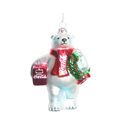 Coca-Cola Bear with Wreath and Cooler 4 1/2-Inch Glass Ornament