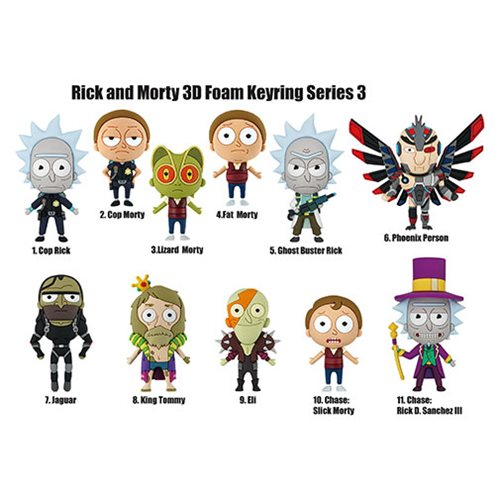 Rick and Morty Series 3 Figural Key Chain Display Case