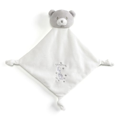 Little Me Lovey White Plush Blanket