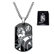 Avengers Captain America Steel Dog Tag and Chain Necklace